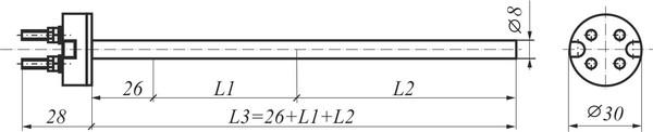 Габаритные размеры термометрической вставки ВТ (ВТК, ВТL)