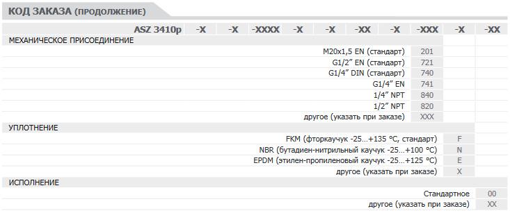 Форма заказа 2. Реле давления с pnp выходом ASZ-3410p