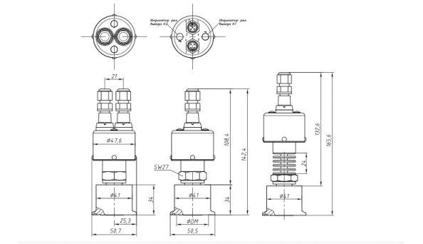 Габариты. ASZ 3420rs датчика-реле давления с разделителем сред