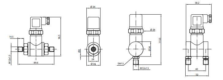 Габариты датчика дифференциального давления APZ-3020