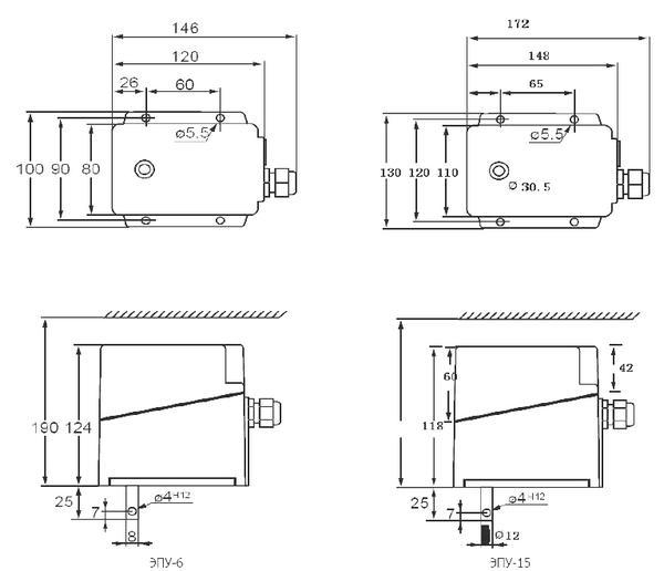 Габаритные размеры электрических исполнительных механизмов ЭПУ-6, ЭПУ-15