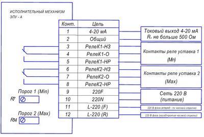 Схема включения исполнительного механизма ЭПУ-А