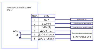 Схема включения исполнительного механизма ЭПУ-Р