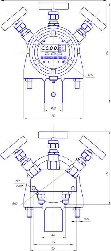 Габаритные размеры-2 преобразователя давления ПДД-РАСКО