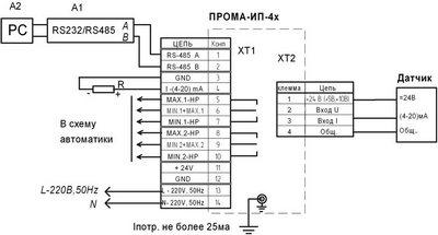 Измеритель параметров ПРОМА-ИП-4, схема подключения датчиков с токовым выходом
