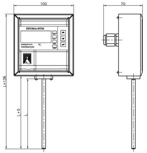Габаритные размеры измерителя ПРОМА-ИТМ-02 (исполнение 02)