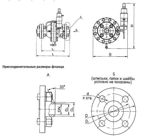 Габаритные размеры регулятора давления газа РДУ-100