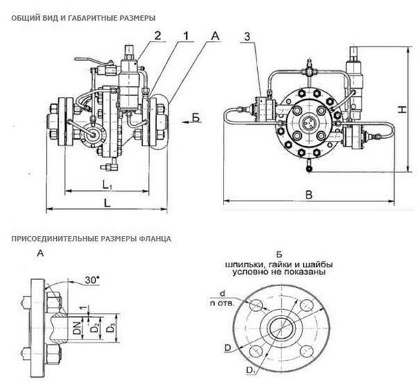 Габаритные размеры регулятора давления газа РДУ-Т-100 с теплогенератором