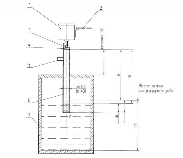Схема монтажа датчика-реле уровня РО-1