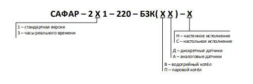 Форма (код) заказа автомата горения САФАР-211/231-БЗК