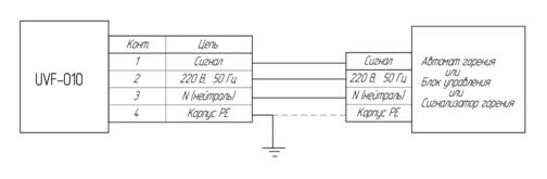 Схема внешних подключений датчика пламени UVF-010