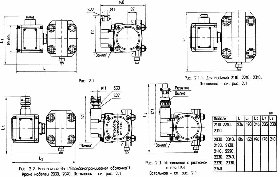 Габаритные, установочные и присоединительные размеры Сапфир 22МП (20хх, 21хх, 22хх, 23хх)