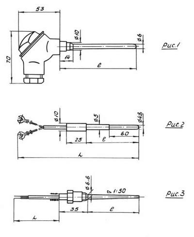 Конструктивные исполнения (рисунки) термопреобразователя сопротивления ТСП-0889-100П