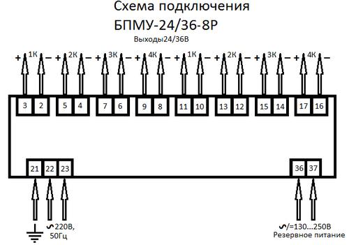 Схема подключения восьмиканальных блоков питания БПМУ-24/35-8Р
