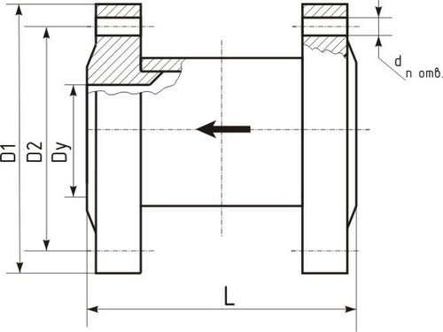 Клапан термозапорный КТЗ-1,6Ф, габаритные размеры