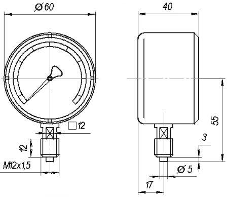 Схема МТМ-1/2/3/4 манометра пылебрызгозащищенного