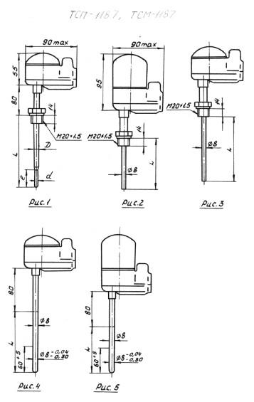 Рис.1-5 термопреобразователей ТСП-1187-Exd, ТСМ-1187-Exd