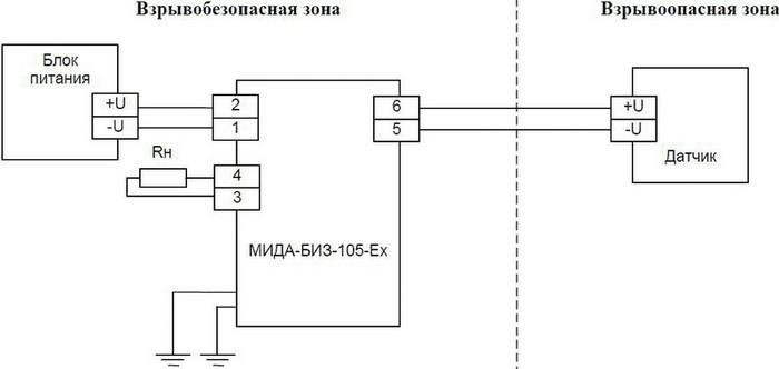 Схема внешних соединений барьера МИДА-БИЗ-105-Ex