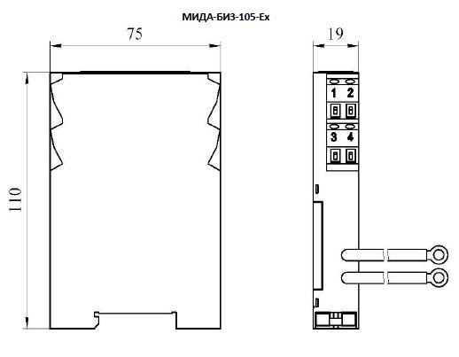 Габаритные размеры барьера искрозащиты МИДА-БИЗ-105-Ех
