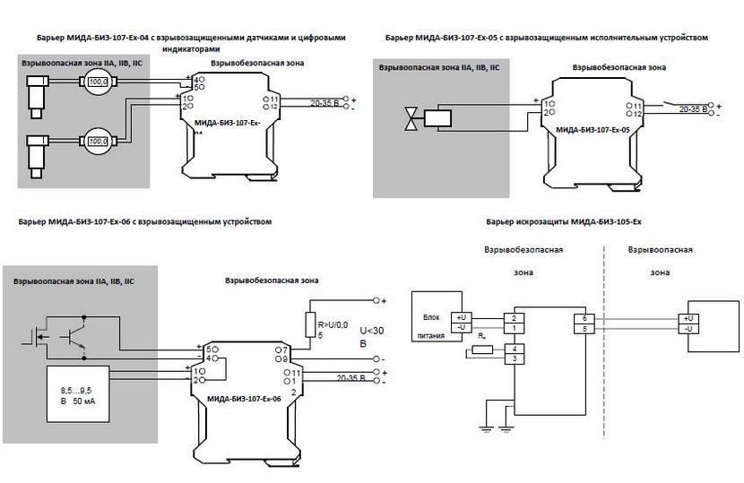 Схема соединений барьеров искрозащиты МИДА-БИЗ-107-Ех-04,-05,-06