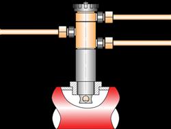 Схема подключения ПТ-1-1 для управления нормально-открытым (НО) регулирующим клапаном