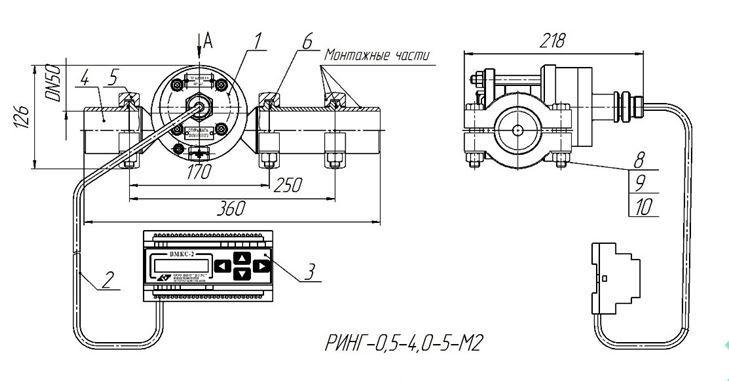 Чертеж (устройство) счетчика кольцевого РИНГ-0,5-4,0-5-М2