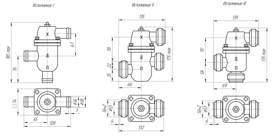 Габаритные размеры регулятора температуры РТП-32-2М (исполнения I, II, III)