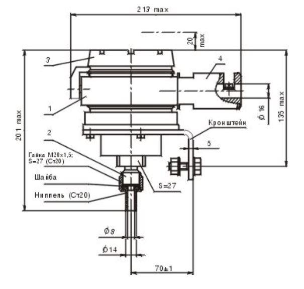 Габаритные размеры датчика давления ТЖИУ406-1Ех