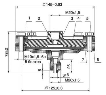 Габаритные и присоединительные размеры разделителя мембранного РМ-5319
