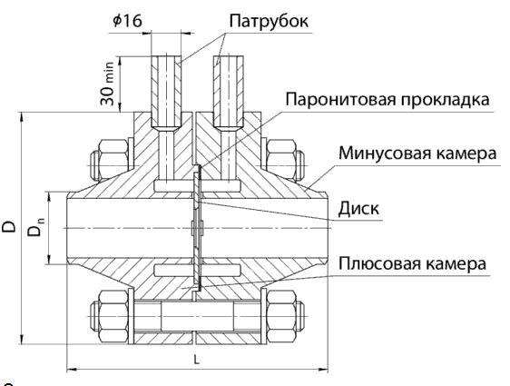 Габаритные размеры диафрагмы ДФК-10-А/Б