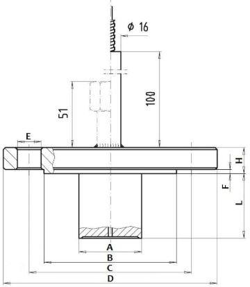 Габаритные и присоединительные размеры разделителямембранногоDL-WI/CI