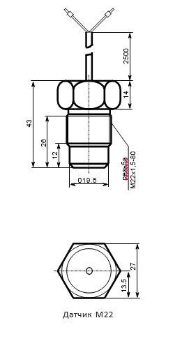 Габаритные размеры температурного датчика М22