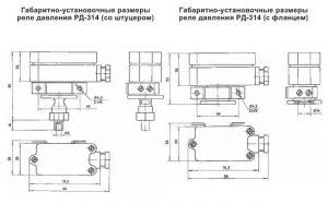 Габаритные размеры реле РД-314