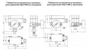 Габаритные размеры реле РД-314М