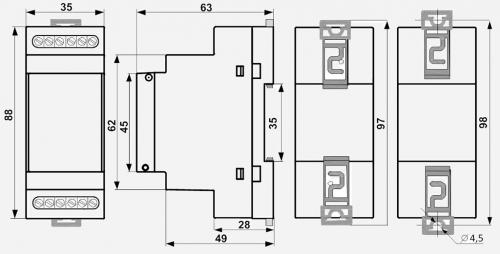 Габаритные размеры реле контроля уровня РКУ-1М-ЭКМ