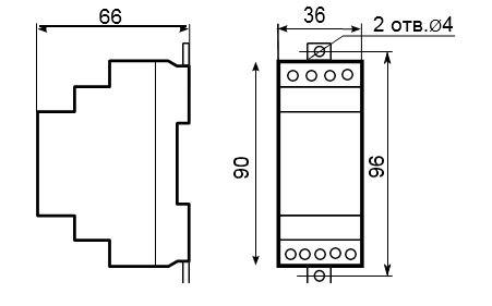Габаритные размеры датчика-реле контроля уровня РКУ-1М