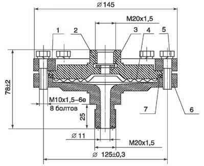 Габаритные и присоединительные размеры разделителя мембранного РМ-5497