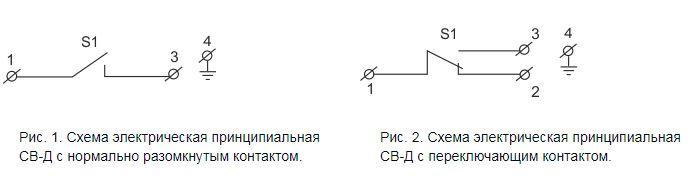Электрическая схема сигнализатора давления СВ-Д-1...60 (СВД)