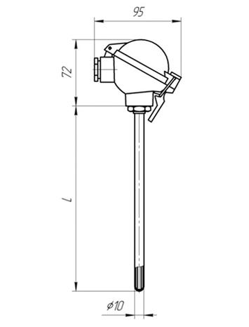 Габаритные размеры термопары ТПП/ТПР-104
