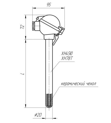 Габаритные размеры термопары ТПП/ТПР-204
