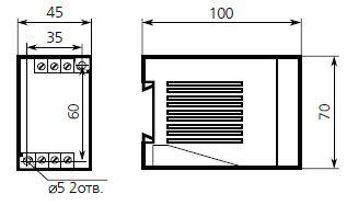 Габаритные размеры реле ТР-60Е