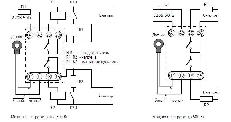 Схема подключения реле ТР-60Е