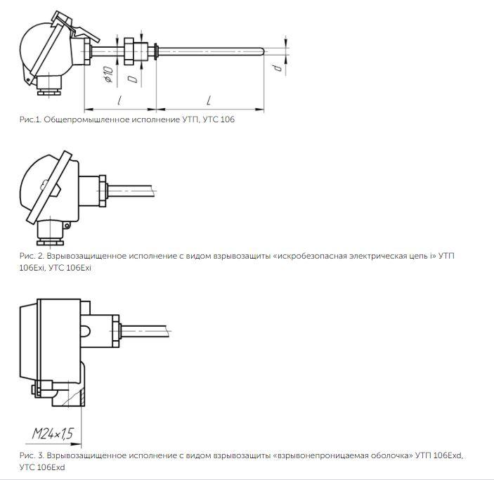 Рисунки термопреобразователей УТП/УТС-106