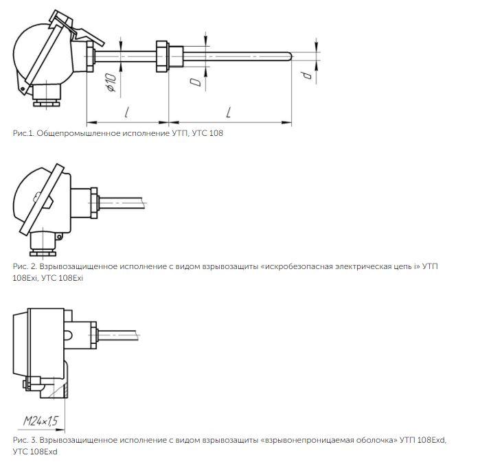 Рисунки термопреобразователей УТП/УТС-108