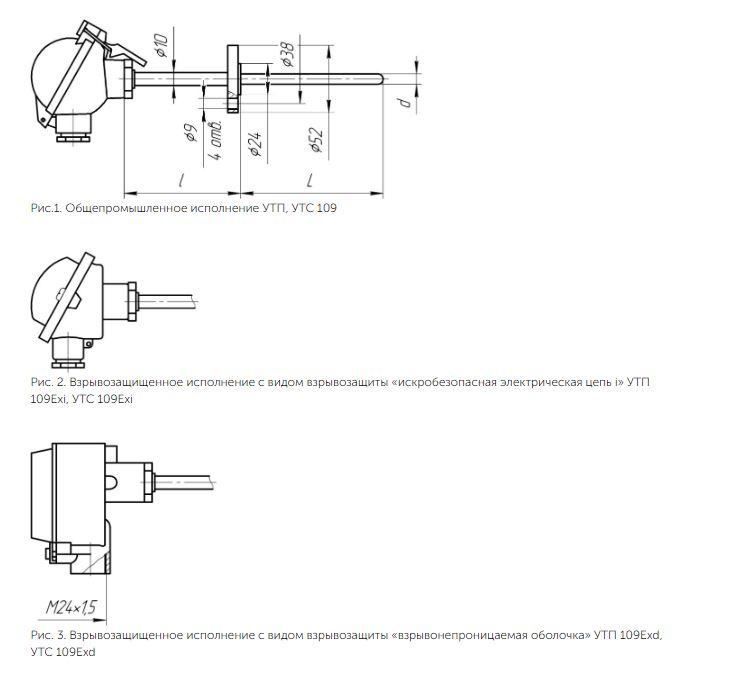 Рисунки термопреобразователей УТП/УТС-109