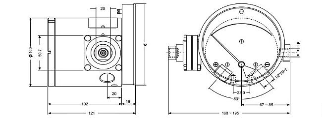Схема 2. Взрывозащищённый дифманометр ЭКД-160АН/100АН-10/20М-Exd
