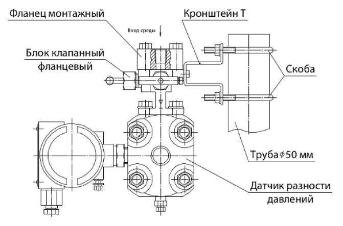 Пример монтажа клапанного блока на трубе диаметром 50 мм