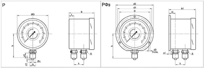 Габариты. Дифманометр ДП100НН, ДП160НН (дифференциальный манометр)
