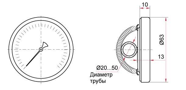 ТБ-30.010 термометр трубный накладной с пружиной (чертеж)