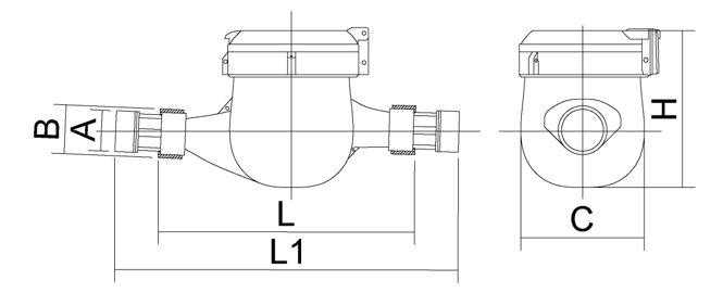 Габаритные размеры счетчиков воды МСВ-15, МСВ-20